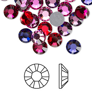 flat back, swarovski crystal hotfix rhinestone, crystal passions, passion, foil back, 7.07-7.27mm xilion rose (2028), ss34. sold per pkg of 24.