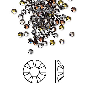 flat back, swarovski crystal hotfix rhinestone, crystal passions, smokies, foil back, 2.7-2.9mm xilion rose (2028), ss10. sold per pkg of 144 (1 gross).