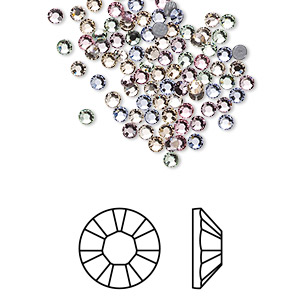 flat back, swarovski crystal hotfix rhinestone, crystal passions, tenderness, foil back, 2.3-2.5mm xilion rose (2028), ss8. sold per pkg of 144 (1 gross).