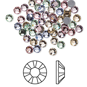 flat back, swarovski crystal hotfix rhinestone, crystal passions, tenderness, foil back, 3.8-4mm xilion rose (2028), ss16. sold per pkg of 96.