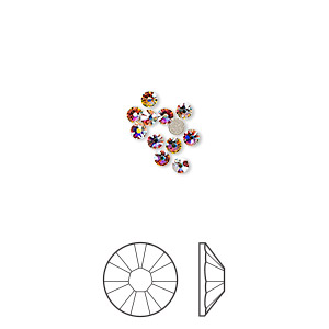 flat back, swarovski crystal rhinestone, crystal ab, foil back, 2.1-2.3mm xilion rose (2058), ss7. sold per pkg of 12.