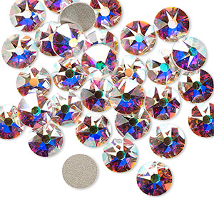 flat back, swarovski crystal rhinestone, crystal ab, foil back, 7.07-7.27mm xirius rose (2088), ss34. sold per pkg of 12.