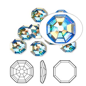 flat back, swarovski crystal rhinestone, crystal ab, foil back, 8mm solaris (2611). sold per pkg of 144 (1 gross).