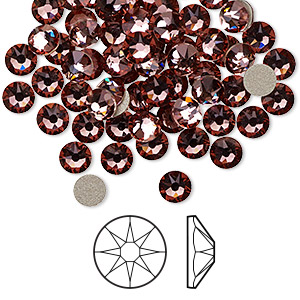flat back, swarovski crystal rhinestone, crystal antique pink, foil back, 4.6-4.8mm xirius rose (2088), ss20. sold per pkg of 1,440 (10 gross).
