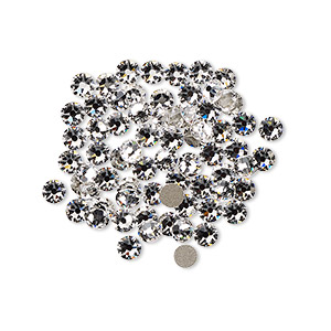 flat back, swarovski crystal rhinestone, crystal clear, foil back, 3-3.2mm xirius rose (2088), ss12. sold per pkg of 1,440 (10 gross).
