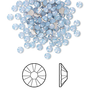 flat back, swarovski crystal rhinestone, crystal passions, air blue opal, foil back, 3-3.2mm xirius rose (2088), ss12. sold per pkg of 144 (1 gross).