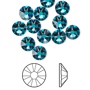 flat back, swarovski crystal rhinestone, crystal passions, blue zircon, foil back, 7.07-7.27mm xirius rose (2088), ss34. sold per pkg of 12.