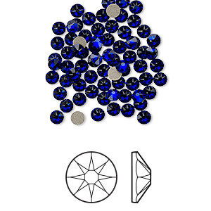 flat back, swarovski crystal rhinestone, crystal passions, cobalt, foil back, 3-3.2mm xirius rose (2088), ss12. sold per pkg of 144 (1 gross).