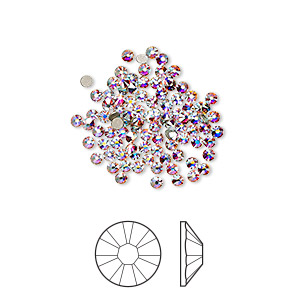 flat back, swarovski crystal rhinestone, crystal passions, crystal ab, foil back, 1.7-1.9mm xilion rose (2058), ss5. sold per pkg of 144 (1 gross).