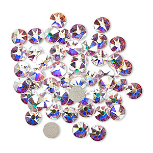 flat back, swarovski crystal rhinestone, crystal passions, crystal ab, foil back, 4.6-4.8mm xirius rose (2088), ss20. sold per pkg of 144 (1 gross).