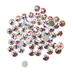 flat back, swarovski crystal rhinestone, crystal passions, crystal ab, foil back, 3-3.2mm xirius rose (2088), ss12. sold per pkg of 12.