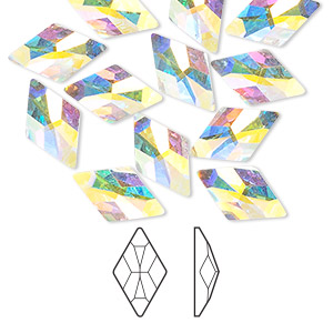flat back, swarovski crystal rhinestone, crystal passions, crystal ab, foil back, 13x8mm faceted rhombus (2709). sold per pkg of 144 (1 gross).