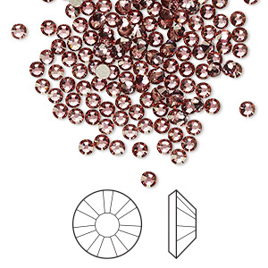 flat back, swarovski crystal rhinestone, crystal passions, crystal antique pink, foil back, 2.5-2.7mm xilion rose (2058), ss9. sold per pkg of 144 (1 gross).