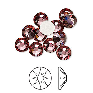 flat back, swarovski crystal rhinestone, crystal passions, crystal antique pink, foil back, 7.07-7.27mm xirius rose (2088), ss34. sold per pkg of 12.