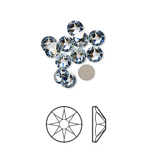 flat back, swarovski crystal rhinestone, crystal passions, crystal blue shade, foil back, 4.6-4.8mm xirius rose (2088), ss20. sold per pkg of 12.