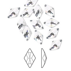 flat back, swarovski crystal rhinestone, crystal passions, crystal clear, foil back, 10x6mm faceted rhombus (2709). sold per pkg of 12.