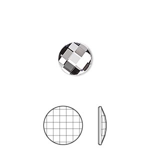 flat back, swarovski crystal rhinestone, crystal passions, crystal clear, foil back, 10mm faceted chessboard round (2035). sold per pkg of 4.