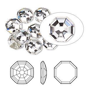flat back, swarovski crystal rhinestone, crystal passions, crystal clear, foil back, 8mm solaris (2611). sold per pkg of 24.