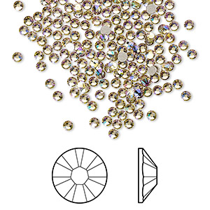 flat back, swarovski crystal rhinestone, crystal passions, crystal luminous green, foil back, 2.1-2.3mm xilion rose (2058), ss7. sold per pkg of 144 (1 gross).