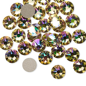 flat back, swarovski crystal rhinestone, crystal passions, crystal luminous green, foil back, 7.07-7.27mm xirius rose (2088), ss34. sold per pkg of 12.