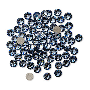 flat back, swarovski crystal rhinestone, crystal passions, denim blue, foil back, 3-3.2mm xirius rose (2088), ss12. sold per pkg of 12.