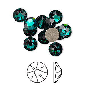 flat back, swarovski crystal rhinestone, crystal passions, emerald, foil back, 7.07-7.27mm xirius rose (2088), ss34. sold per pkg of 12.