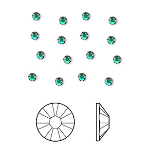 flat back, swarovski crystal rhinestone, crystal passions, emerald, foil back, 2.5-2.7mm xilion rose (2058), ss9. sold per pkg of 12.