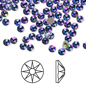 flat back, swarovski crystal rhinestone, crystal passions, erinite shimmer, foil back, 3-3.2mm xirius rose (2088), ss12. sold per pkg of 12.