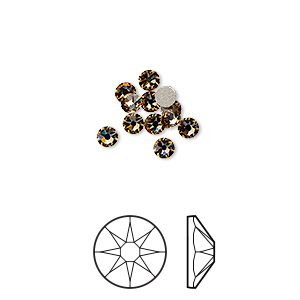 flat back, swarovski crystal rhinestone, crystal passions, light colorado topaz, foil back, 3-3.2mm xirius rose (2088), ss12. sold per pkg of 12.
