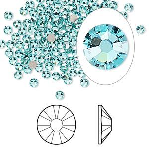flat back, swarovski crystal rhinestone, crystal passions, light turquoise, foil back, 2.5-2.7mm xilion rose (2058), ss9. sold per pkg of 12.
