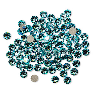 flat back, swarovski crystal rhinestone, crystal passions, light turquoise, foil back, 3-3.2mm xirius rose (2088), ss12. sold per pkg of 144 (1 gross).