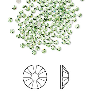 flat back, swarovski crystal rhinestone, crystal passions, peridot, foil back, 2.1-2.3mm xilion rose (2058), ss7. sold per pkg of 12.