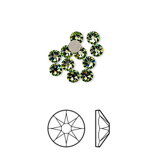 flat back, swarovski crystal rhinestone, crystal passions, peridot, foil back, 3-3.2mm xirius rose (2088), ss12. sold per pkg of 12.