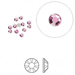 flat back, swarovski crystal rhinestone, crystal passions, rose, foil back, 2.1-2.3mm xilion rose (2058), ss7. sold per pkg of 12.