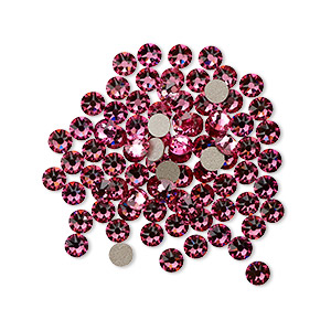 flat back, swarovski crystal rhinestone, crystal passions, rose, foil back, 3-3.2mm xirius rose (2088), ss12. sold per pkg of 144 (1 gross).