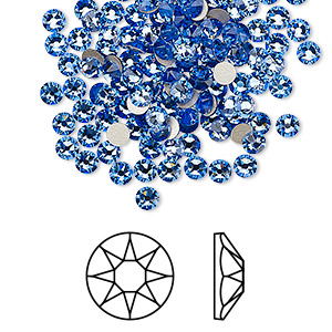 flat back, swarovski crystal rhinestone, crystal passions, sapphire, foil back, 3-3.2mm xirius rose (2088), ss12. sold per pkg of 144 (1 gross).