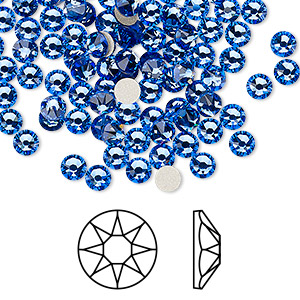 flat back, swarovski crystal rhinestone, crystal passions, sapphire, foil back, 3.8-4mm xirius rose (2088), ss16. sold per pkg of 144 (1 gross).