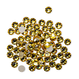 flat back, swarovski crystal rhinestone, crystal passions, sunflower, foil back, 3-3.2mm xirius rose (2088), ss12. sold per pkg of 12.