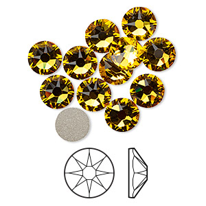 flat back, swarovski crystal rhinestone, crystal passions, sunflower, foil back, 7.07-7.27mm xirius rose (2088), ss34. sold per pkg of 12.