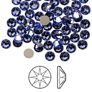flat back, swarovski crystal rhinestone, crystal passions, tanzanite, foil back, 4.6-4.8mm xirius rose (2088), ss20. sold per pkg of 144 (1 gross).