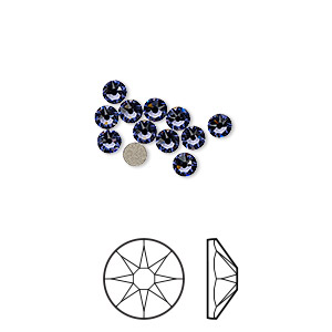 flat back, swarovski crystal rhinestone, crystal passions, tanzanite, foil back, 3-3.2mm xirius rose (2088), ss12. sold per pkg of 12.
