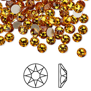 flat back, swarovski crystal rhinestone, crystal passions, topaz, foil back, 4.6-4.8mm xirius rose (2088), ss20. sold per pkg of 12.