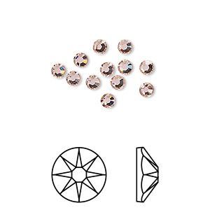 flat back, swarovski crystal rhinestone, crystal passions, vintage rose, foil back, 3-3.2mm xirius rose (2088), ss12. sold per pkg of 12.