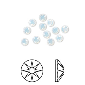 flat back, swarovski crystal rhinestone, crystal passions, white opal, foil back, 3.8-4mm xirius rose (2088), ss16. sold per pkg of 12.