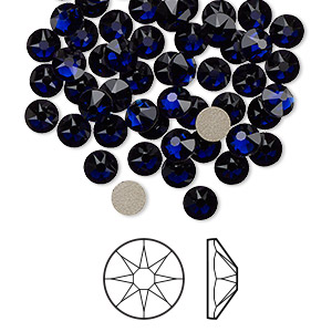flat back, swarovski crystal rhinestone, dark indigo, foil back, 4.6-4.8mm xirius rose (2088), ss20. sold per pkg of 1,440 (10 gross).