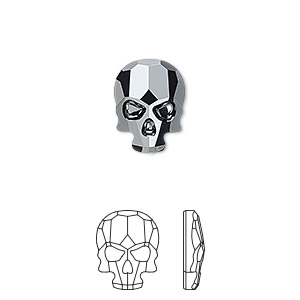 flat back, swarovski crystal rhinestone, jet hematite, 14x10.5mm faceted skull (2856). sold per pkg of 36.