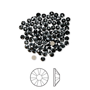 flat back, swarovski crystal rhinestone, jet hematite, foil back, 2.1-2.3mm xilion rose (2058), ss7. sold per pkg of 12.