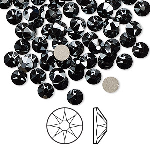 flat back, swarovski crystal rhinestone, jet hematite, foil back, 4.6-4.8mm xirius rose (2088), ss20. sold per pkg of 1,440 (10 gross).