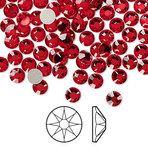 flat back, swarovski crystal rhinestone, light siam, foil back, 4.6-4.8mm xirius rose (2088), ss20. sold per pkg of 1,440 (10 gross).