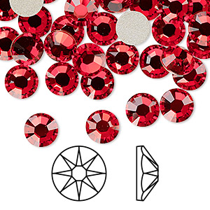 flat back, swarovski crystal rhinestone, light siam, foil back, 7.07-7.27mm xirius rose (2088), ss34. sold per pkg of 144 (1 gross).